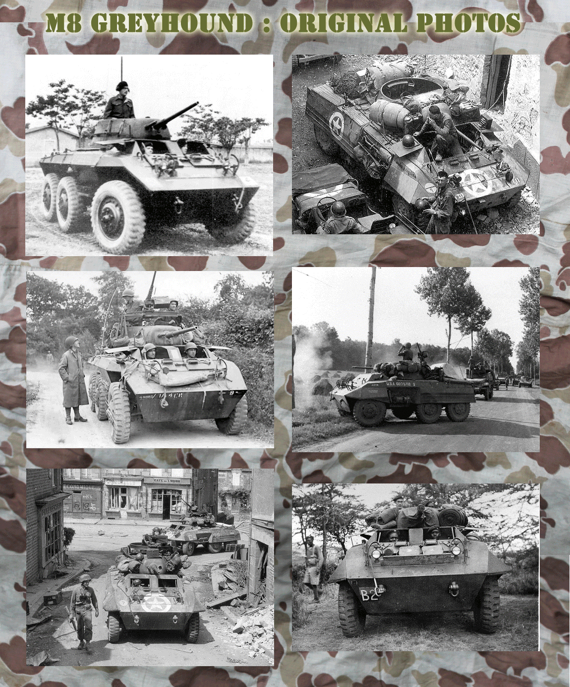 Original WW2 Black and white photos of M8 Greyhound in service