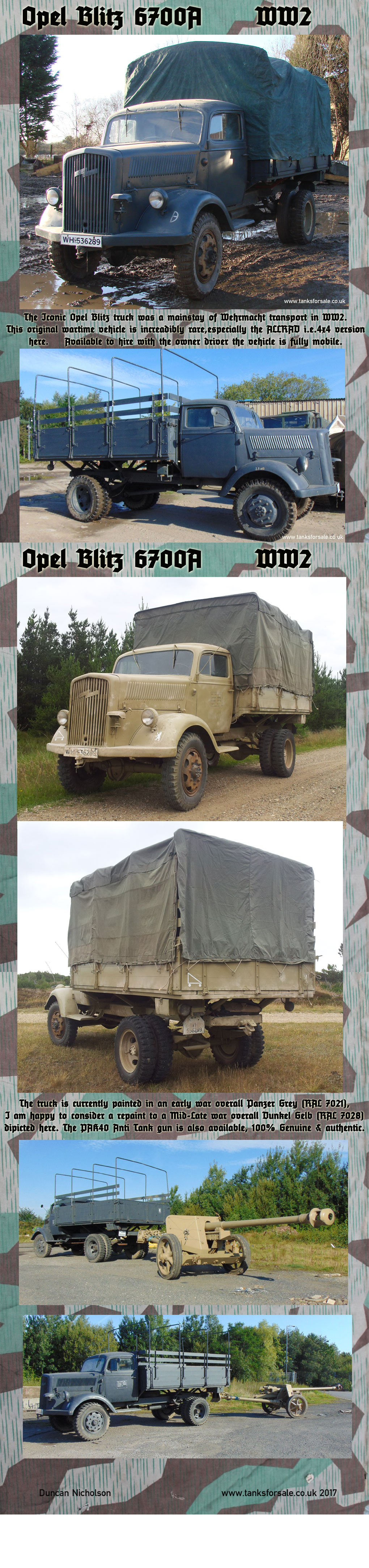 Opel Blitz WW2 German truck for hire