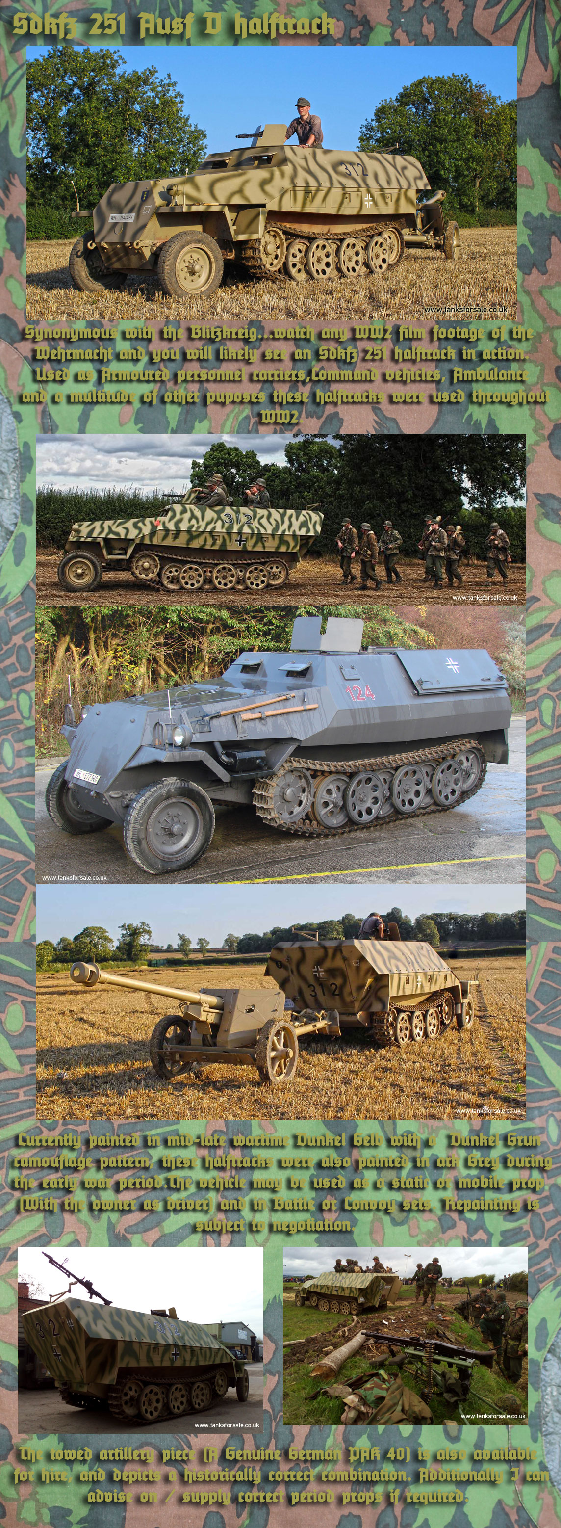 Sdkfz 251 Halftrack for hire details